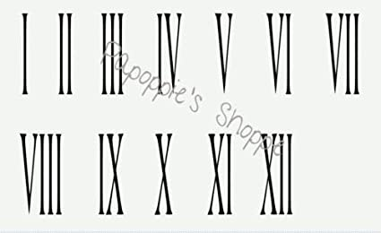 Amazon Com Roman Numerals 1 12 Skinny 6 Inch Tall Diy Clock Vintage
