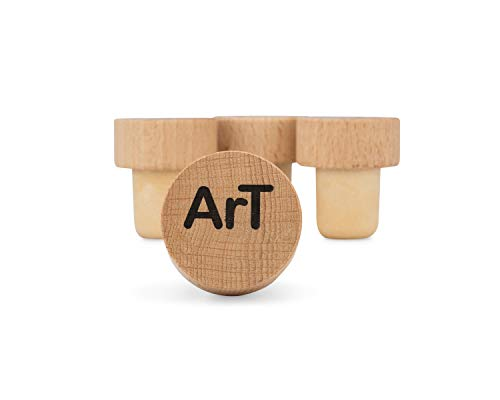 ArT Wine Bottle Stoppers | Wood Top | Wine Accessory Kit | 4 Pack