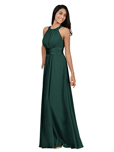 Alicepub Chiffon Bridesmaid Dresses Long for Women Formal Evening Party Prom Gown Halter, Dark Emerald, US8