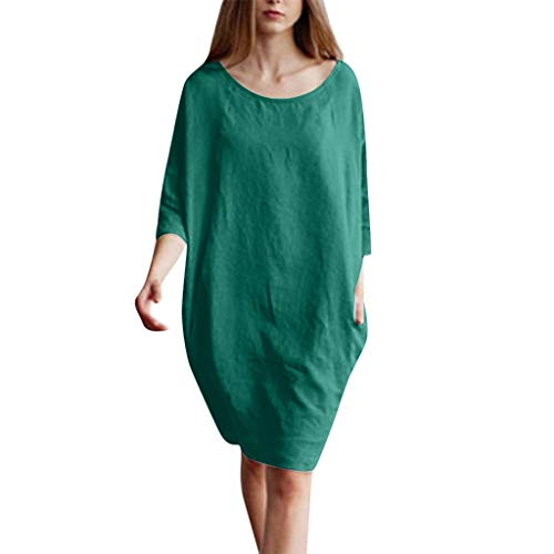 (Drfoytg Women's Cotton Linen Dresses Plus Size Summer 1/2 Sleeved Baggy Sundress with Pockets Green)