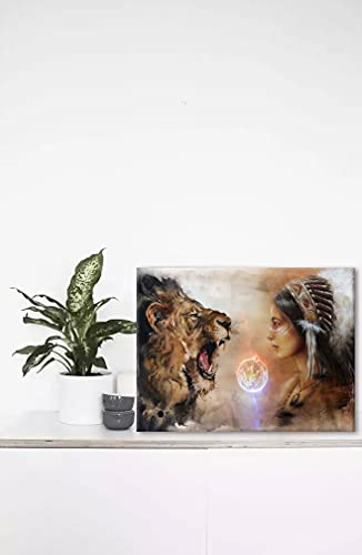 Native American Woman Wall Art for Living Room, SZ Wall Decor for Bedroom of Original Indian Feather & Lion Fashion Paintings Canvas Prints Decor, Wood Inner Frame (Waterproof Artwork, 12x16)