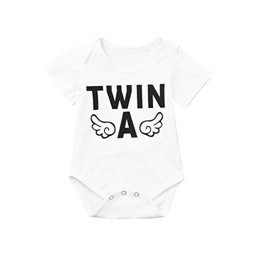 1Pcs Newborn Twins Baby Boys Girls Short Sleeve Mitiy Cute Romper Bodysuit Summer Outfit Clothes White
