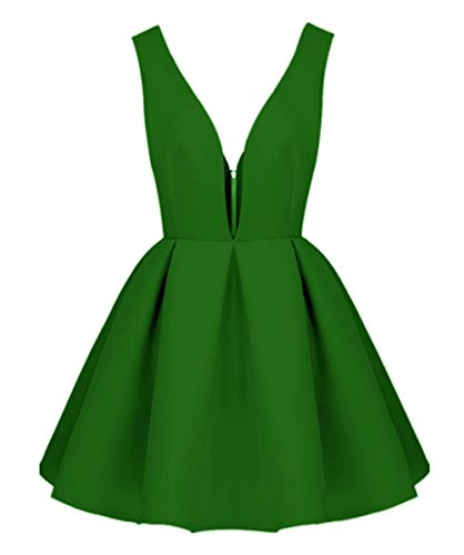 Homecoming Dress Backless Green Party Little Prom Short Black V Neck Dresses AiniDress 7ppqzZw5