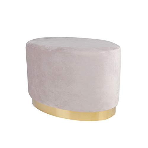 - KSWD Solid Wood Footstool, Oval Non-Slip Foot Stool Ottoman Pouffe Flannel Sponge Luxury Makeup Change Shoes Sofa,C