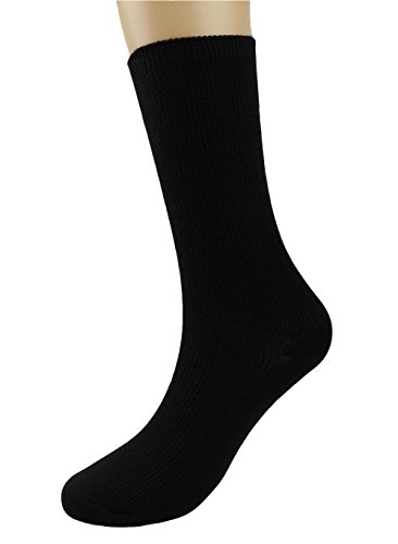 BLACOCO Womens Mens Basic Crew Socks Knit Cotton Casual Work Business Sock (Black/1-Pack)