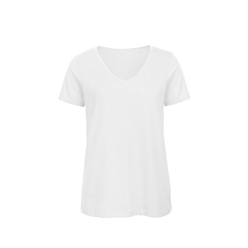 - B&C Womens/Ladies Favourite Organic Cotton V-Neck T-Shirt (M) (White)