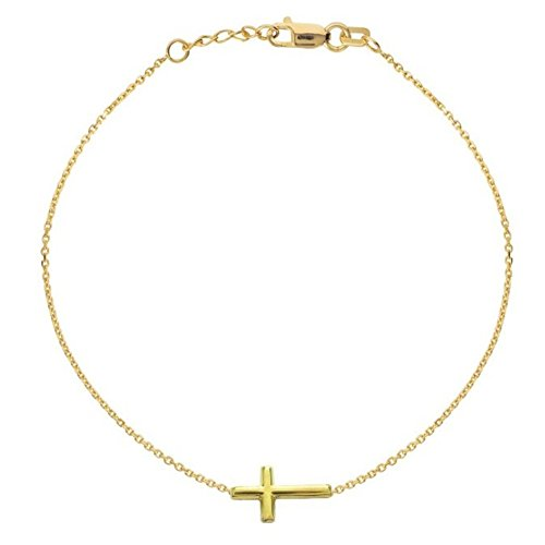Ritastephens 14K Yellow Gold Sideways Cross Bracelet Adjustable Chain 7-7.5 Inches
