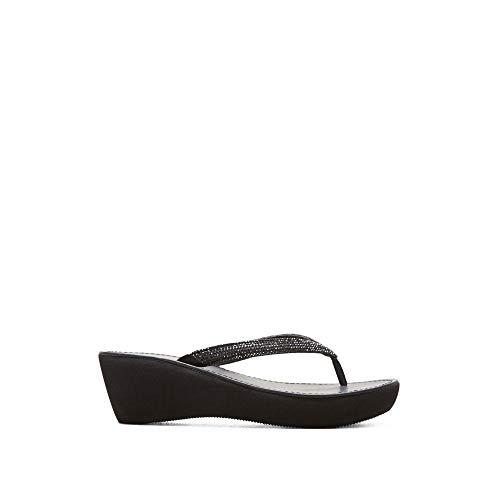 Kenneth Cole REACTION Women's Fine Sun Gltizy Platform Thong Sandal Wedge, Black, 10 M US