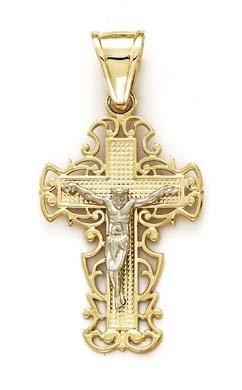 Or bicolore 14carats avec pendentif croix en filigrane