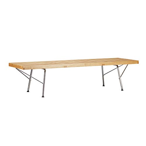 Poly and Bark EM-380-CRM-NAT Slat 5' Bench with Chrome Legs, Natural by Poly and Bark (Image #8)