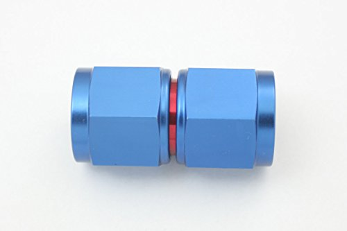 Autobahn88 Aluminum Reusable Swivel Straight Female Flare Hose End Fitting, Blue/Red (-AN4) ()