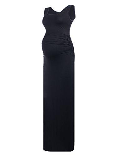 Bridesmaid Maternity Dress Black - Women's Sleeveless Modal Maternity Maxi Dress Comfortable Tank Dress Black