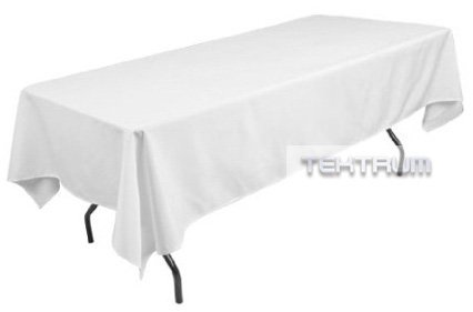 """TEKTRUM 60 X 102 INCH 60""""X102"""" RECTANGULAR POLYESTER TABLECLOTH - THICK/HEAVY DUTY/DURABLE FABRIC - WHITE COLOR"""