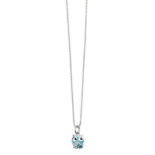 So Chic Bijoux © Collier Enfant Chaîne 35 cm Pendentif Chouette Hibou Email Bleu Diamant Argent 925