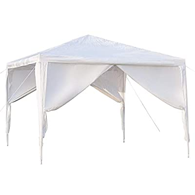 Kcelarec 10 x 10 ft Outdoor Wedding Party Tent Waterproof Tent with Spiral Tubes, Patio Parties Tent Sunshade Shelter Canopy with Removable Sidewalls (4 Sidewalls) : Garden & Outdoor