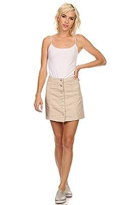 MeshMe Womens JoMelissa - High Waist Bull Denim Button Down A-Line Short Skirt