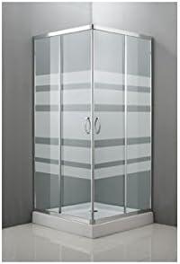 Kaimat codeba M256655 - Mampara ducha angular cristal serigrafiada 80 x 80: Amazon.es: Bricolaje y herramientas