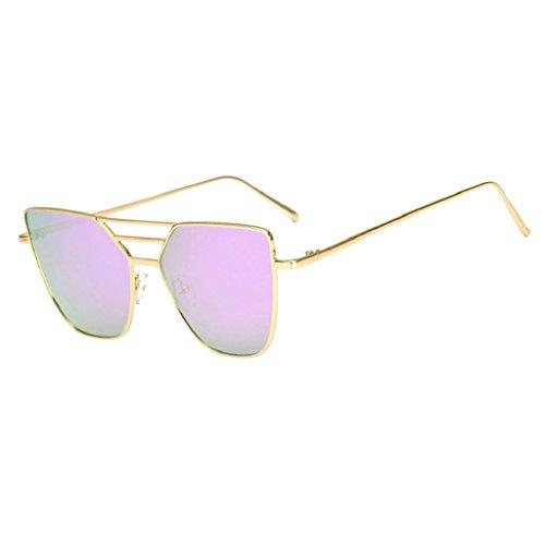 OverDose, Unisex Lunettes De Soleil Aviateur à Verres TeintéS Et Monture En MéTal Avec DéCoupe Irregular Sunglasses (Rose)