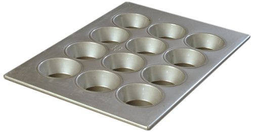 Carlisle 601834 Steeluminum 12 Cup Large Cup Cupcake Pan, 17.75'' Length x 12.87'' Width, 4-oz. Capacity (Case of 6) by Carlisle (Image #1)