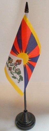 AZ FLAG Drapeau DE Table Tibet 15x10cm - Petit Drapeaux DE Bureau TIBÉ TAIN 10 x 15 cm