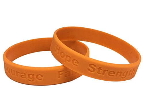 1 Adult Leukemia Awareness Orange Silicone Bracelet - Adult Size Show Your Support 1 Bracelet - Made of 100% high quality food grade silicone (Best Food For Leukemia Patients)