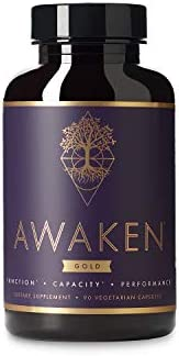 Awaken Gold Premium Nootropic Supplement Advanced Brain Nutrition Improve Memory Learning Enhance Focus Clarity Intensify Drive 11 Premium Ingredients 45 Servings