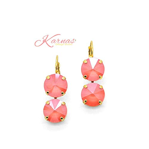 - IN LIVING CORAL *Pantone 2019 Color Of The Year *12mm Earrings *Swarovski Crystal *Choose Your Finish *Karnas Design StudioTM
