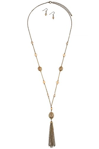 TRENDY FASHION JEWELRY FILIGREE BEADED TASSLE NECKLACE SET BY FASHION DESTINATION   (Matted Gold) (Custom Costume Hip Hop Jewelry)