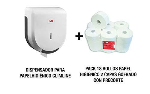 Dispensador de papel higiénico y 18 rollos de papel 2 capas gofrado y con precorte incluído