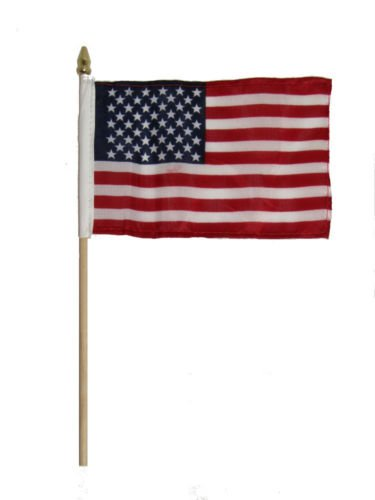 Wholesale Lot of 12 USA American 4''x6'' Desk Table Flag Wooden Stick BEST Garden Outdor Decor polyester material FLAG PREMIUM Vivid Color and UV Fade Resistant by Moon