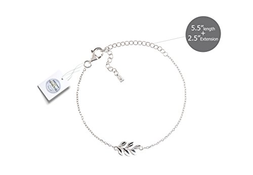 Vivid&Keith Womens Girls 925 Real Sterling Silver 18K Plated Swarovski Zirconia Cute Adjustable Gift Fashion Jewelry Link Chain Charm Pendant Bangle Bracelet, Leaf, White Gold Plated