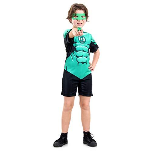 Fantasia Lanterna Verde Curto - Dc Infantil 915096-g Sulamericana Fantasias Verde/preto G 10/12 Anos