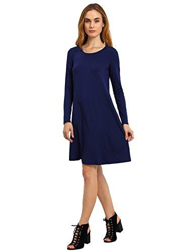 Dress Sleeve Plain T Loose Romwe Shirt Tunic Women's Long Blue Casual wIExScaCzq