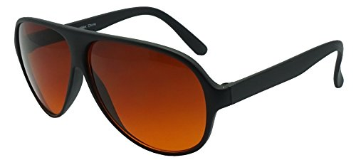 SunglassUP - Blue Blocking Oversized Bomber Aviator Sunglasses Amber Tinted Lens (Matte Black, Amber (Blue Buster - Ditka Sunglasses Mike