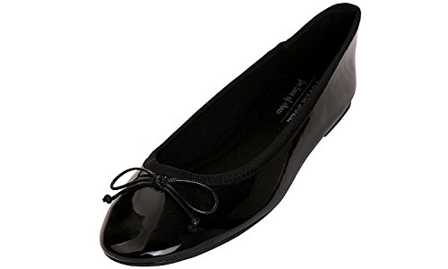 - Feversole Women's Macaroon Colorful Memory Patent Ballet Flat Black