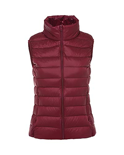 Aden Women's Winter Stand Collar Quilted Down Gilet Coat Vest Ultra Light Weight Packable Puffer Jacket Winered