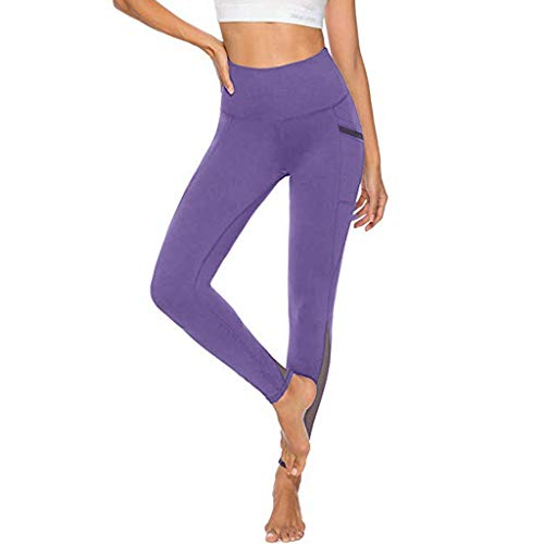 Women's Mesh Yoga Pants,YuhooSUN with 2 Pockets, Non See-Through High Waist Tummy Control 4 Way Stretch Leggings Purple
