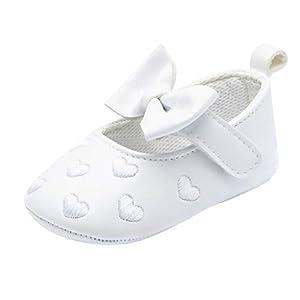 BaojunHT Baby Girls First Walking Pram Shoes Heart Embroidery Big Bowknot Summer Flats Princess Sandals