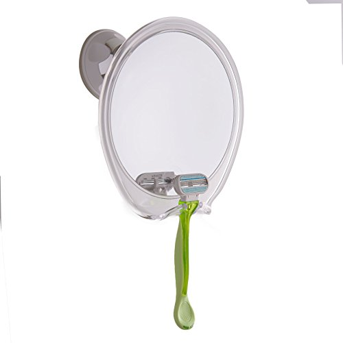 fogless shower mirror with razor hook for a perfect no fog shaving 360 degree rotating for easy. Black Bedroom Furniture Sets. Home Design Ideas