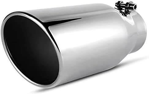"""Universal Car Stainless Exhaust Tip Round Glossy Black 2.5/"""" Inelt 3.5/"""" Outlet"""