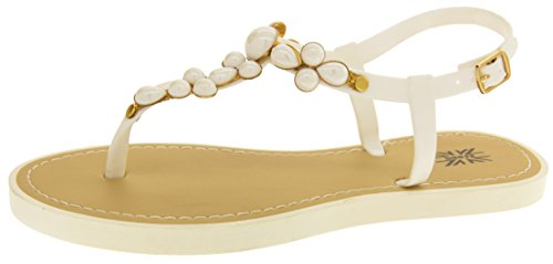 Footwear Studio Keddo Ladies T-Bar Summer Sandals White