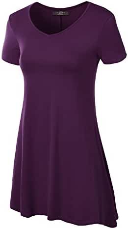 MBJ Womens Short Sleeve Various Hem Tunic Top - Made in USA
