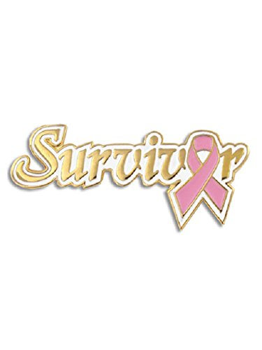 PinMart Breast Cancer Survivor Pink Awareness Ribbon Enamel Lapel Pin 1-1/8