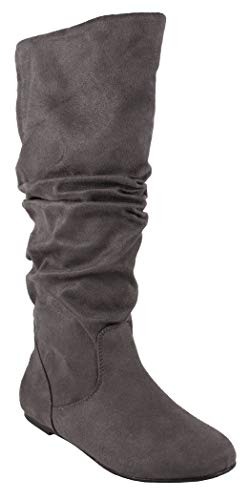 MVE Shoes Women's Shelly Faux Suede Slouch Mid-Calf Boot, Zuluu Cha IMSU -