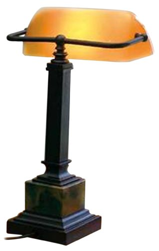 House of Troy DSK430-MB Shelburne Collection 13-3/4-Inch Portable Desk Lamp, Oil Rubbed Bronze and Marble with Amber Glass Shade