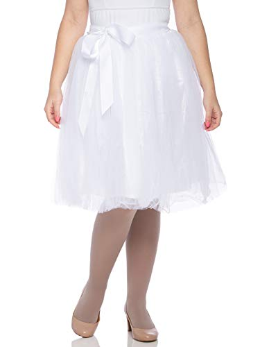 Dancina Women's Knee Length Tutu A Line Layered Tulle Skirt Plus (Size 12-22) White