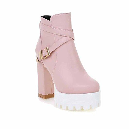 AmoonyFashion Womens High-Heels Round Closed Toe Pu Zipper Boots Pink