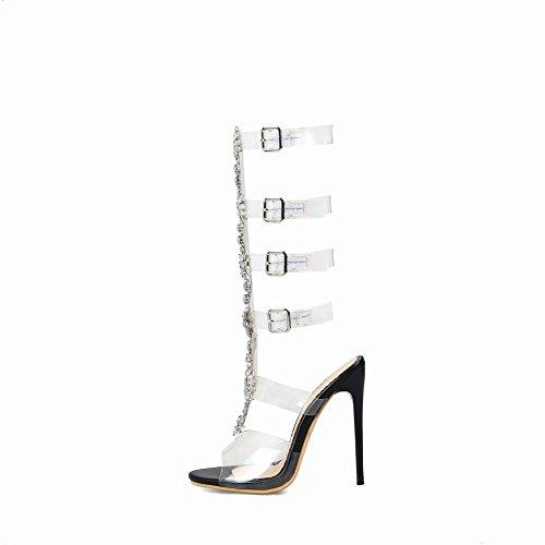 Schwarz Chic Carolbar Schnallen Toe High Strass Sandalen Heel Peep Frauen O5zqS