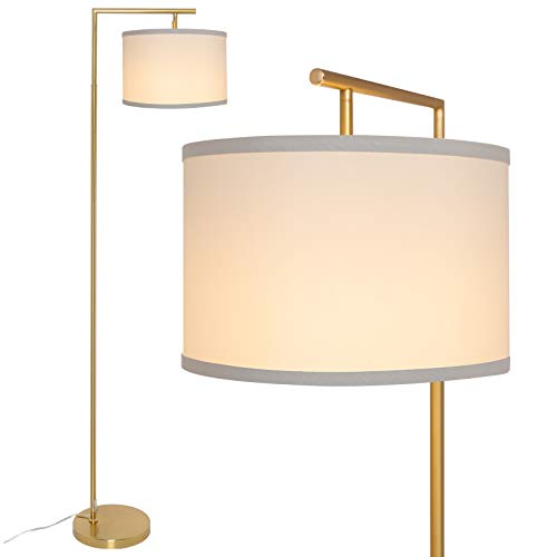 Yueximei LED Gold Floor Lamp,Mid Century Modern Floor Lamp Standing Light, Tall Pole Lamp with Hanging Drum Shade, floor…