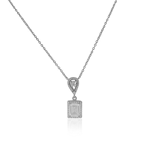 925 Sterling Silver Rectangular Teardrop Clear White CZ Elegant Pendant Necklace, 18